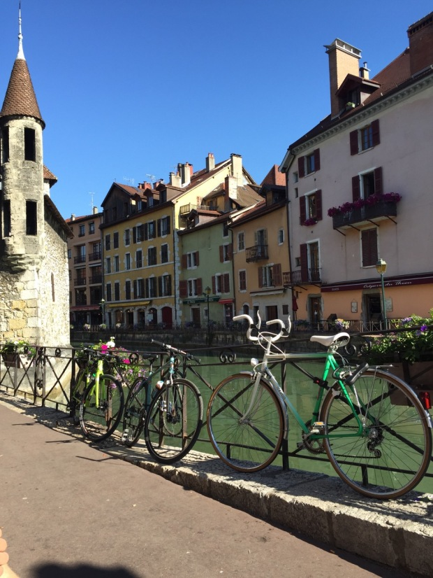Our bikes felt right at home, joining the locals in town