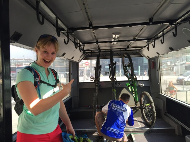 Getting a little too excited about bikes on the bus!
